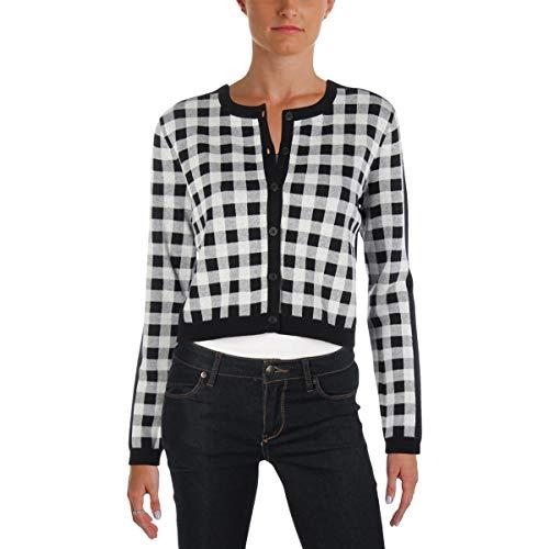 Juicy Couture Black Label Womens Gingham Jacquard Cardigan Sweater Black M