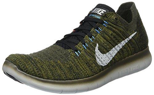 Nike Heren Gratis Rn Flyknit Cargo Khaki / Zwart-blauwe Gloed Helder Mango (13 D (m) Us)