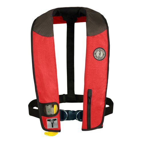 - MUSTANG SURVIVAL Deluxe Manual Inflatable PFD with Harness (Red/Carbon/Black)