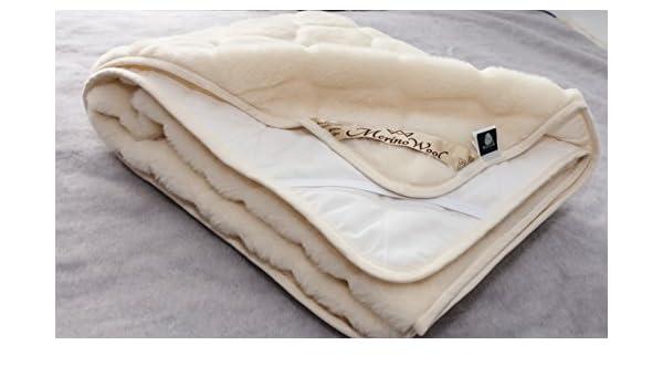 Merino Wool Bedding Caro - Manta Reversible de Lana Merina 100% Australiana para colchón de Cachemira, 90 x 200 cm, diseño de Madera: Amazon.es: Hogar