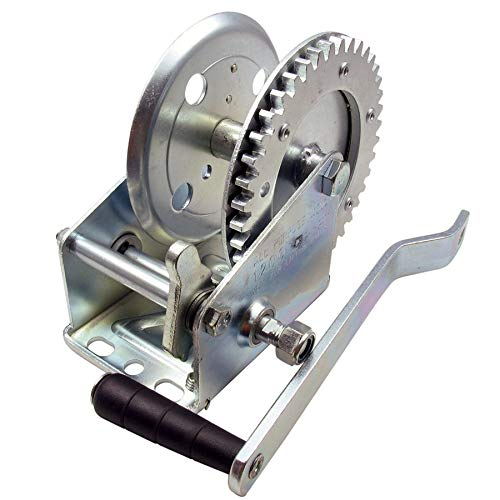 (1200 lb Hand Crank Heavy Duty Ratchet Winch, Positive Locking Pawl, Reversible Ratchet)