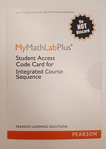 Mymathlab Plus Integrated Course Sequence (Stand Alone Acc)