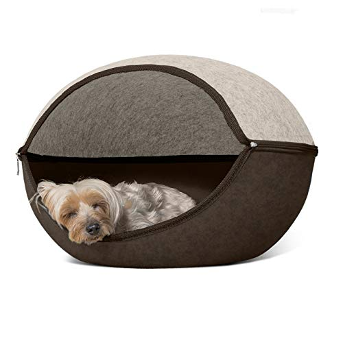 Furhaven Pet Cat Bed Furniture | Two-Color Round Felt Pet House Private Den Hideout Pet Bed for Cats & Small Dogs, Heather Brown/Cream, One Size