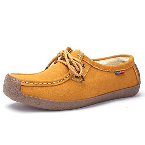 Stq Mujer Lace Up Suede Flats Zapatos Fashion Comfort Square Toe Snail Work Sneakers 806-1 Amarillo Piel Sintética