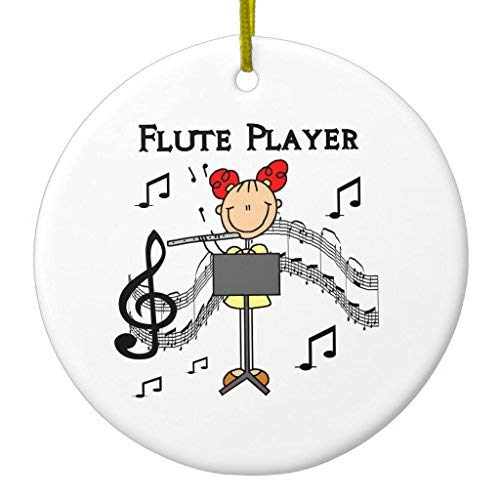 (Ditooms Stick Figure Girl Flute Player Tshirts and Gifts Ceramic Ornament Circle 3 Inches)