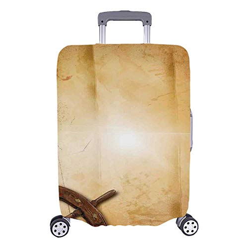 Ships Wheel Decor Simple Luggage Cover,Illustration of Steering Wheel on Old Antique Paper Historic Traveling Maritime Art for Home,S