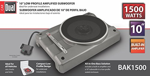Dual Electronics BAK1500 10 inch Compact Low Profile Amplified Subwoofer with 1,500 Watts of Peak Power & Remote Subwoofer Control ()