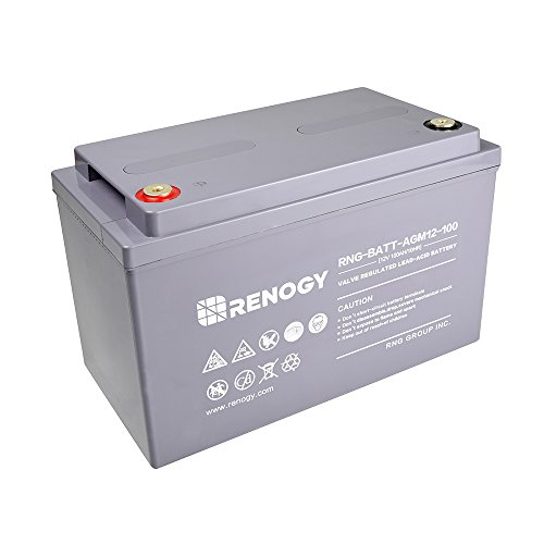 Renogy Deep Cycle AGM Battery 12 Volt 100Ah for RV, Solar, Marine, and Off-grid Applications by Renogy