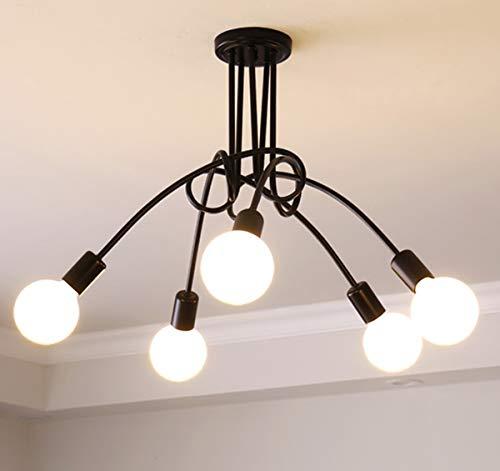 Ganeed Modern Sputnik Chandelier Lighting 5 Lights Brushed Brass Chandelier Mid Century Pendant Lighting Black Ceiling Light Fixture for Hallway Bar Kitchen Dining Room