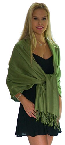 Pashmina Shawls and Wraps - Large Scarfs for Women - Party Bridal Long Fashion Shawl Wrap with Fringe by Petal Rose (Olivine) - Green Crochet Scarf