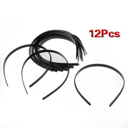 SODIAL(R) 12x 10mm Plastik Haarreifen Schmuck Schwarz Haarschmuck