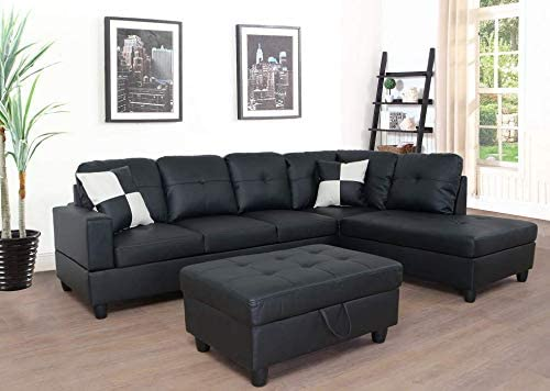 Lifestyle-Furniture-3-Piece-Black-Contemporary-Leather-Living-Room-Right