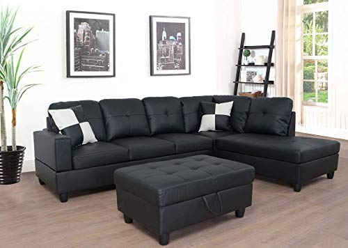 Lifestyle Furniture 3-Piece Black Contemporary Leather Living Room Right-Facing Sectional Sofa Set (Arm Right Sectional Facing)