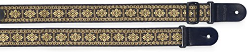Cross Yellow Pattern (Stagg SWO-CRO YEL Woven Nylon Guitar Strap with Cross Pattern - Yellow)