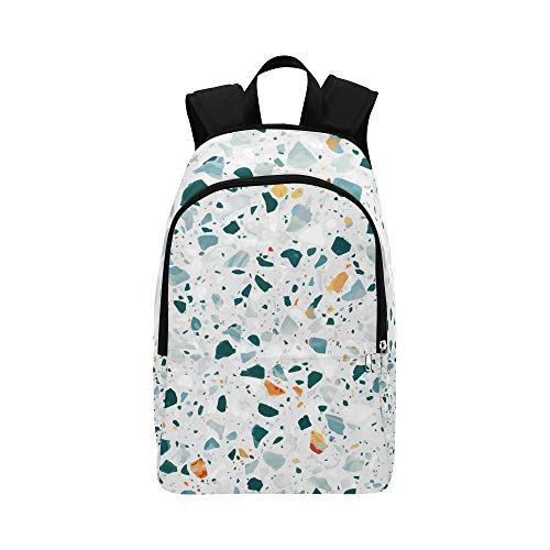 Flooring Canvas Mosaic - HYTCSY Natural Terrazzo Flooring Granite Casual Daypack Travel Bag College School Backpack for Mens and Women