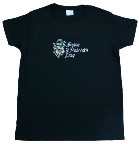 A+ Images, Inc. Happy St. Patrick's Day Rhinestone T-Shirt – Black, XXX-Large, Bags Central