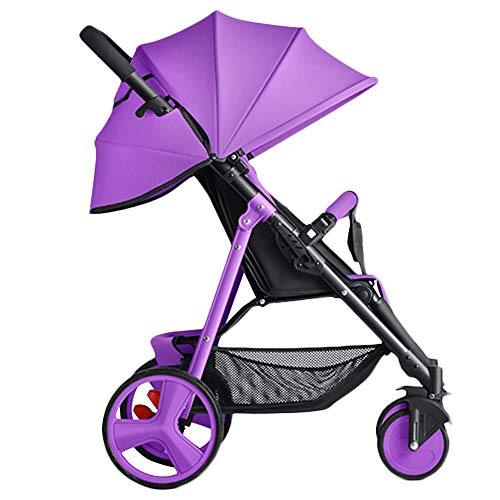 WYANAN Luxury Baby Stroller 2 in 1 High-Landscape Pram Portable Folding Baby Carriage Frame Suspension Kid Car,Purple
