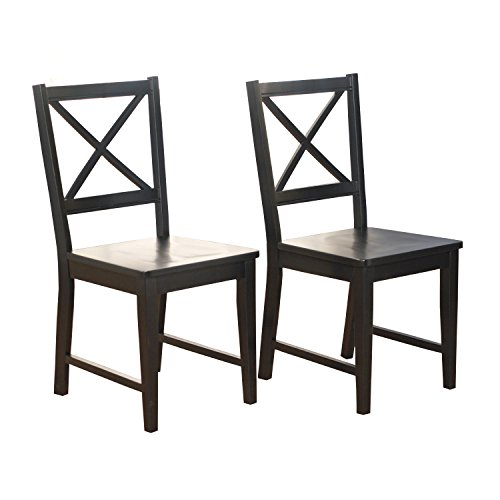 Target Marketing Systems Modern Cross Back Sitting Chair, Set of 2, Black (Chairs Kitchen Back Cross)