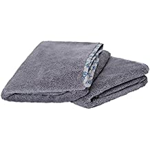 Microfiber Towels for Cars | Soft Thick Auto Detailing Towels for Cleaning, Drying, Polishing, Buffing, Wax | Exterior/Interior | Lasts 100's of Washings | Size 24 x 36, Gray (2 Pack)