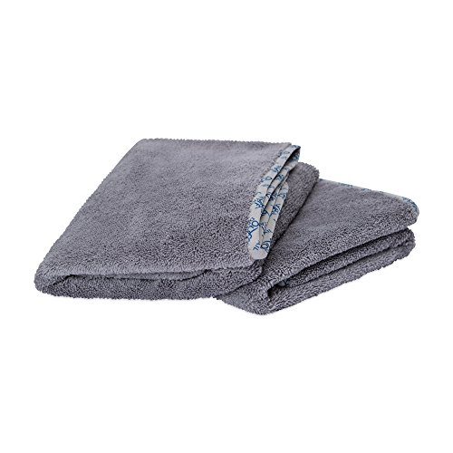 Edgeless Microfiber Polishing Cloths - Microfiber Towels for Cars & Boats | Soft Thick Auto Detailing Towels for Cleaning, Drying, Polishing, Buffing, Wax | Exterior/Interior | Lasts 100's of Washings | Size 24 x 36, Gray (2 Pack)