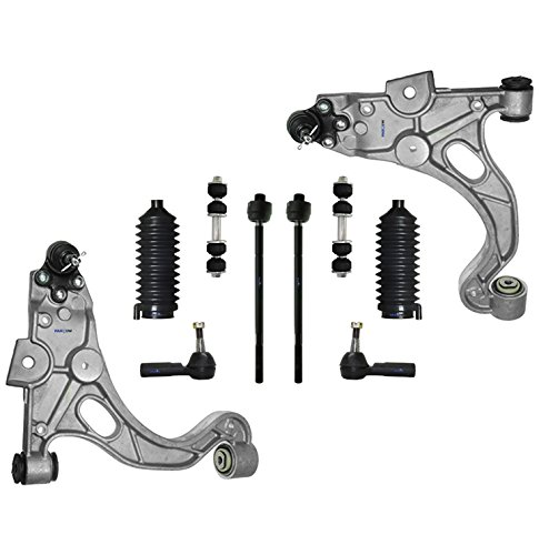 PartsW 10 Pc Front Suspension Kit for LeSabre Park Avenue Riviera DeVille Seville Aurora Bonneville Lower Control Arms & Ball Joints Left & Driver Side, Sway Bar End Link, Rack & Pinion Bellow Boots (Avenue Suspension Buick Park)