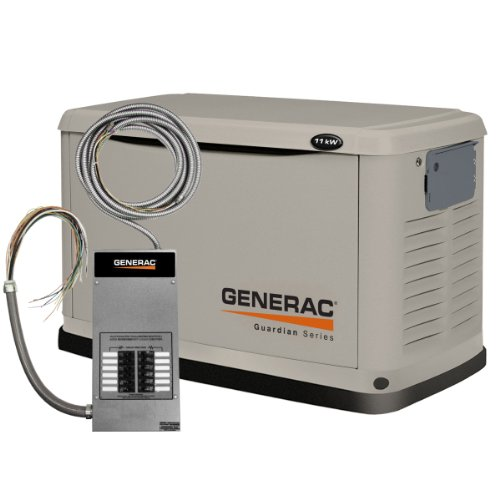Generac 6437 Guardian Series, 11kW Air Cooled Standby Generator, Natural Gas/Liquid Propane Powered, Steel Enclosed, with 12-Circuit Transfer Switch (Discontinued by Manufacturer)