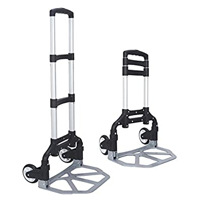 FCH Folding Hand Truck Aluminum Portable Folding Hand Cart 165lbs Capacity Hand Cart and Dolly Ideal for Home, Auto, Office,Travel Use