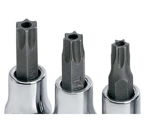 SK Hand Tools 19769 9-Piece 1/4-Inch and 3/8-Inch Drive Tamper-Proof Torx Bit Socket Set