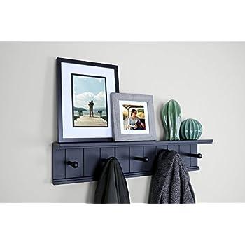 """Ballucci 5 Pegs Entryway Wall Shelf Rack, 24"""" x 5"""", Black"""