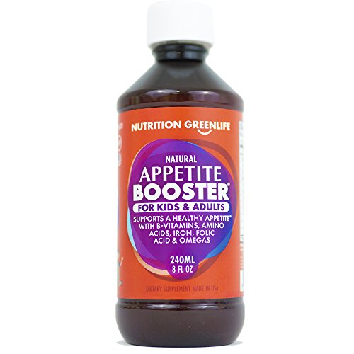 Appetite Booster Weight Gain Stimulant Supplement Eat More for Underweight Kids & Adults Fortified with Omega 3,6,9 + Vitamins B1,B2,B3,B5,B6,B12, Folic Acid, Iron, Zinc, Amino Acids, Flax Seed Oil by Nutrition Greenlife