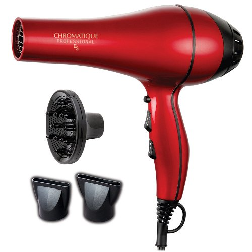 Chromatique Professional E3 5200 Tourmaline Ionic Ceramic Salon Hair Dryer Metallic Red