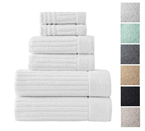 (Luxury Bath Towel Collection Set - Ultra Absorbent and Plush Complete Towel Set With Unique Ribbed Design - Made with 100% Cotton (White))