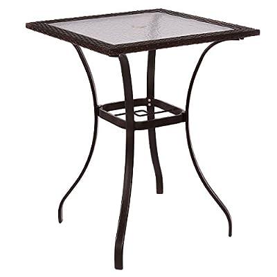 Outdoor Patio Rattan Wicker Bar Square Table Glass Top Yard Garden Furniture
