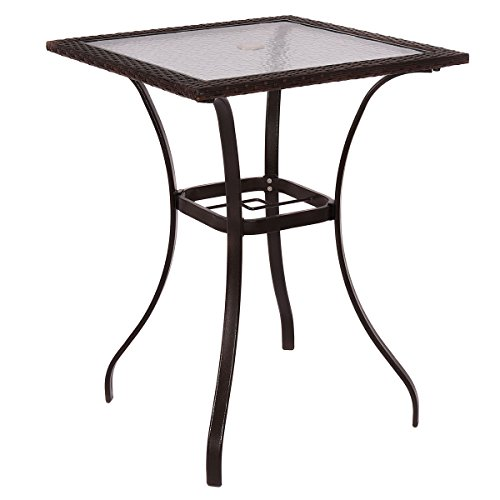Outdoor Patio Rattan Wicker Bar Square Table Glass Top Yard Garden Furniture For Sale