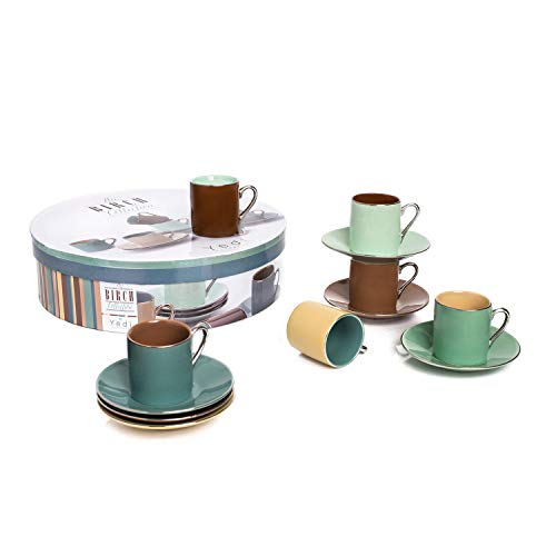 (Espresso Coffee Cups with Matching Saucers (Set of 6) by Yedi Houseware  Premium Quality Porcelain In Stylish, Birch Colors for Perfect Italian Espresso Experience   Stunning Hostess Gift Idea  2½ oz)