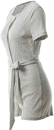 LemonGirl Womens Button Down Jumpsuit Short Pants Rompers with Belt