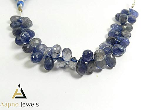 1 Strand Natural Iolite Loose Beads Strand, 6x11mm 7 Inch Faceted Tear Drops Iolite Beads, Iolite Beads Necklace, Jewelry Making Iolite Beads, Knotted Iolite Necklace ()