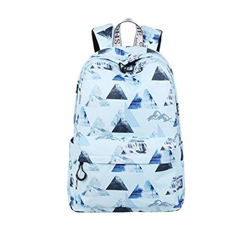 Winnerbag Fashion femmes sac à dos étanche de grande capacité d'impression paysage quotidien Filles Voyage Bookbags ensemble noir 14 pouces Blue