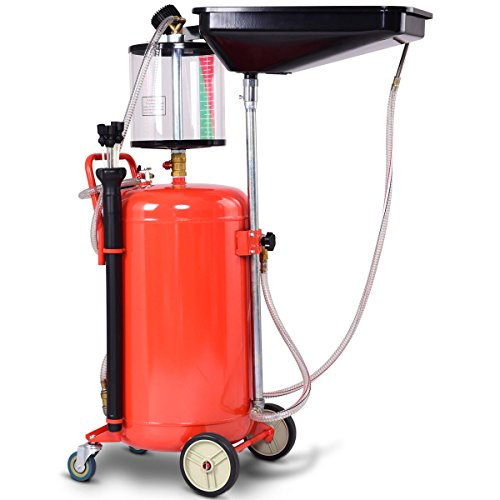 Goplus 20 Gallon Portable Waste Oil Drain Tank Air Operate Drainer with Measuring Cup and 5 Oil Suction Hoses (Plastic Drain Oil Waste)