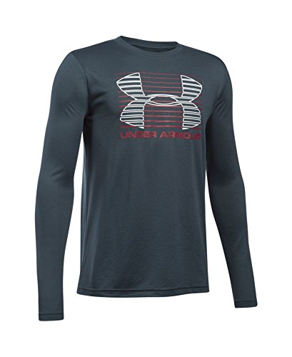 Under Armour Boys' Breakthrough Logo Long Sleeve T-Shirt, Stealth Gray/Cardinal, Youth X-Large
