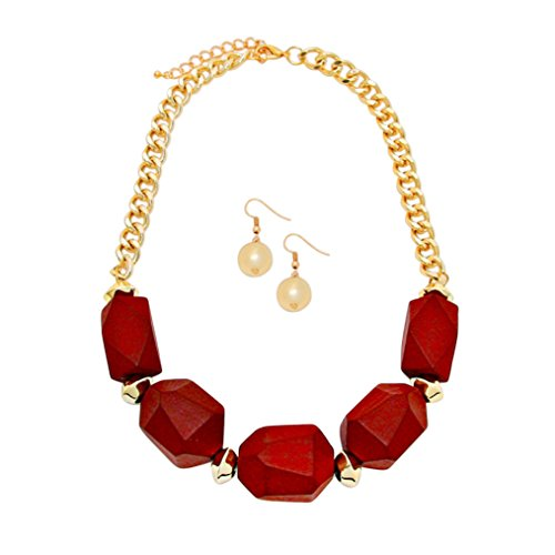 [Rosemarie Collections Women's Chunky Wooden Bead Statement Necklace Earrings Set (Burgundy)] (Chunky Wooden Beads)