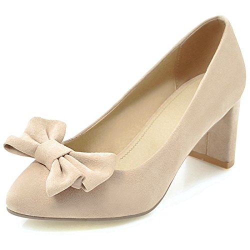 YE Women's Ladies Bow Mid Block Heel Pointed Closed Toe Court Shoes Beige