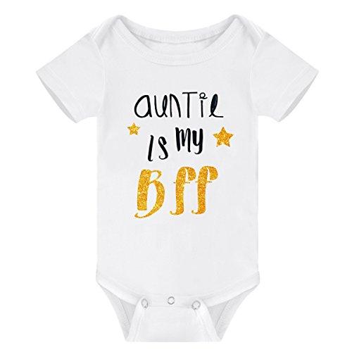 WINZIK Newborn Baby Boys Girls Outfits Auntie is My BFF Letters Print Baby Onesie Romper Jumpsuit T-Shirt