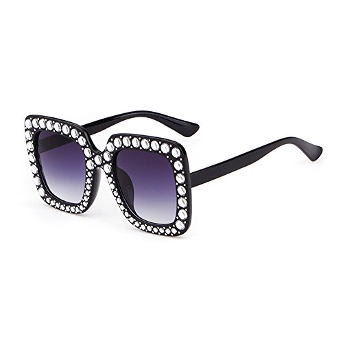 Crystal Rim Women Sunglasses Retro Brand Desginer Square Oversize Sun Glasses (purle, - Best For Face Shaped Heart Sunglasses
