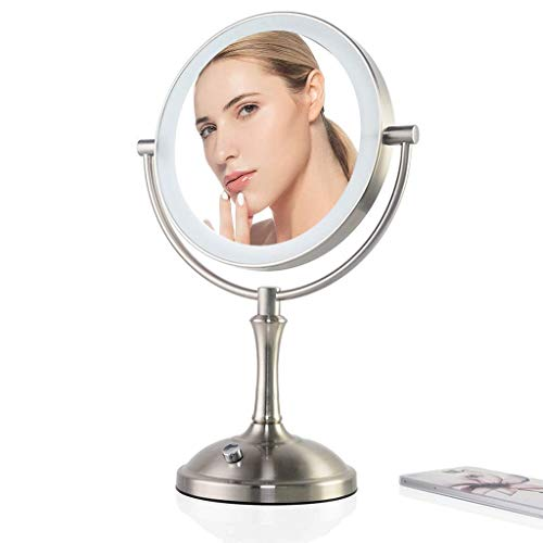 Makeup Mirror, Bathroom Vanity Mirrors Double-Sided Lighted - Illuminated with LED Light; -