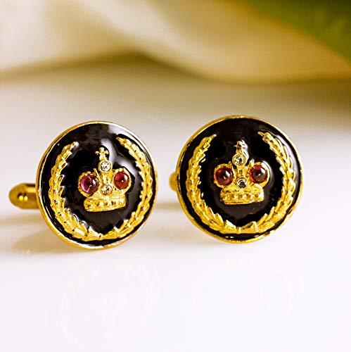 Black Cuff-Links Royal Crown w Garnets Enamel Sterling Silver Gold Vermeil Russian Cuff Links Jewelry For Men Women