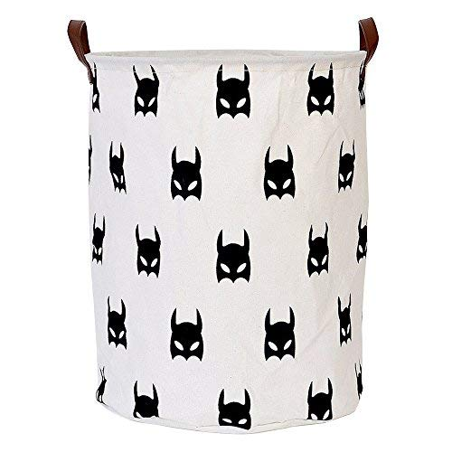 LINENLUX Dirty Clothes Laundry Storage Basket for Bedroom Bathroom Kids Linen Cotton White and Batman 15.7