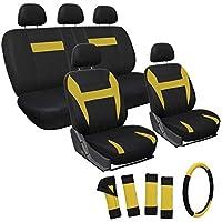 Motorup America Yellow/Black Auto Seat Cover - Full Set - Fits Select Vehicles Car Truck Van SUV