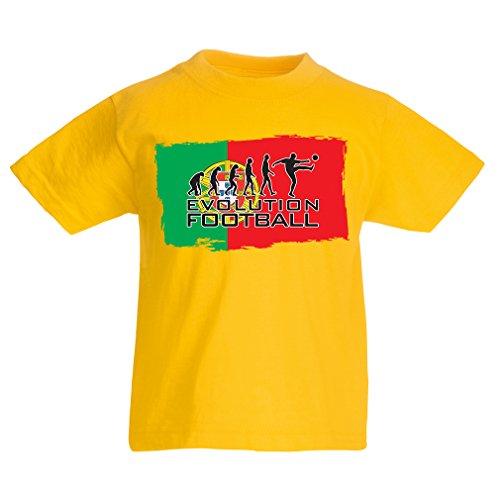 Kids Boys/Girls T-Shirt The Portugal National Football Team Evolution, 2018 World Cup Russia (12-13 Years Yellow Multi (Portugal Home Retro Shirt)