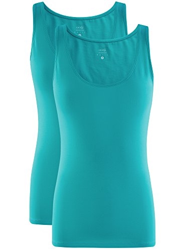 oodji Collection Mujer Camiseta de Tirantes Básica sin Etiqueta (Pack de 2) Turquesa (7300N)
